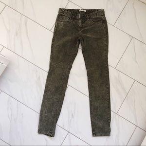 Free People Dark Green Corduroy Skinny Jeans